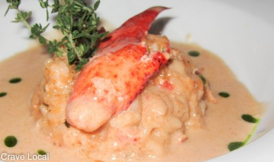 Lobster & Chorizo Risotto in a Cognac Spiked Creamy Lobster Sauce