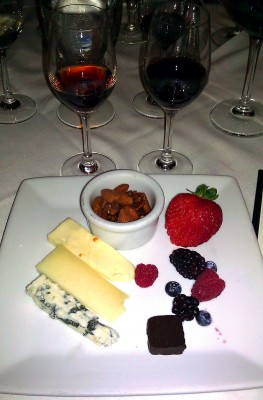 Ruths Chris port dinner Artisanal Cheeses Berries Nuts Jacques Torres BIN 27 Chocolate