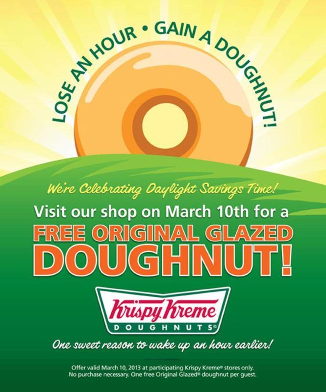 Daylight Savings Offer Krispy Kreme