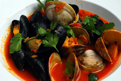 mussels and clams in red sauce
