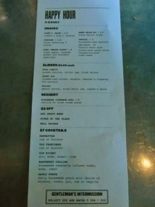 Lot No. 3 Happy Hour Menu