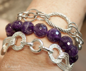 Silver Amethyst layered bracelet fashion trends