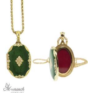 green enamel locket