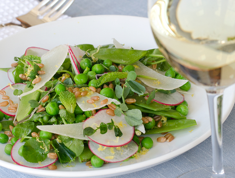 summer wine pairing pea salad with pecorino romano